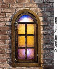 window wall brick - window arch shape colored glass brick...