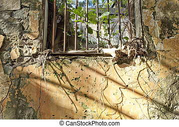 window wall with old prison
