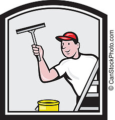 Window Washer Cleaner Cartoon - Illustration of a window...