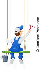 Window washer. Cleaning service. Cartoon character.