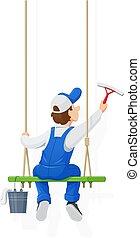 Window washer. Cleaning service. Cartoon character. - Window...