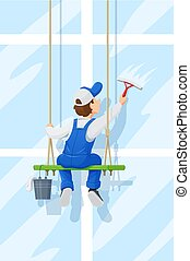 Window washer. Cleaning service. Cartoon character. - Window...