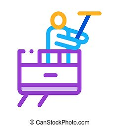 Window Washer Icon Vector Outline Illustration