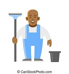 Window Washer Man. Cleaner Worker. Vector Illustration