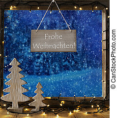 Window, Winter Forest, Frohe Weihnachten Means Merry...