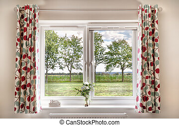 Window with a beautiful rural view