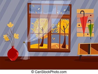 Window with a view of yellow trees and foliage. Autumn brown interior with branches in vase, bedside table in hallway and umbrellas on hanger. Evening good weather outside. Flat cartoon vector