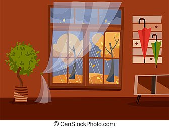 Window with a view of yellow trees and foliage. Autumn brown interior with tree in tub, a coffee table and a umbrellas on hanger. Evening rainy weather outside. Flat cartoon vector illustration.