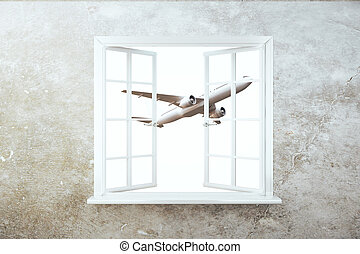 Window with airplane view