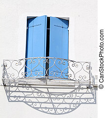 window with azure shutters