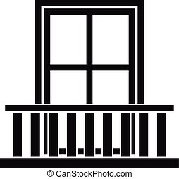 Window with balcony icon, simple style