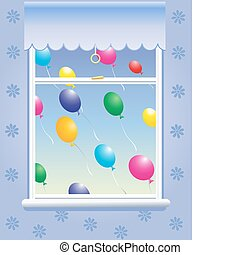 window with balloons - an illustration of colorful balloons ...