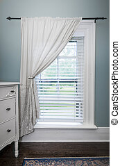 Window with blinds and curtain - Window with venetian blinds...