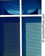 WINDOW WITH BLINDS - A rectangular window with blue shades...