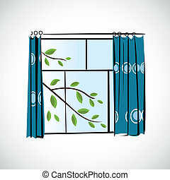 Window with curtains on a bright background