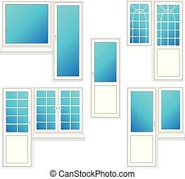 window with door, vector illustration isolated set