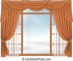 Window with elegant curtains and winter landscape outside