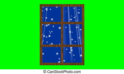 Window with falling snow and light rays. Animation on green screen.