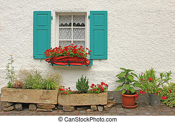 Window with floral decorations