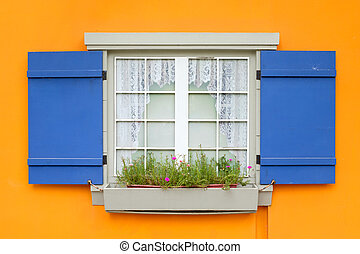Window with flower and blue shutters open on yellow wall