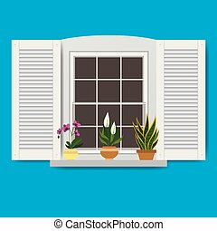 Window with flowers in pots