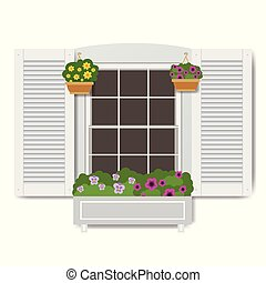 Window with flowers in pots, isolated on white background