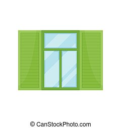 Window with green shutters on white background.