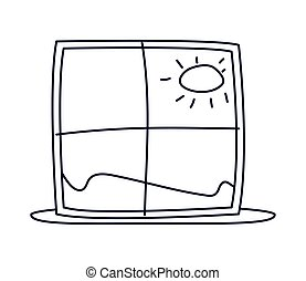 window with landscape view, line style icon