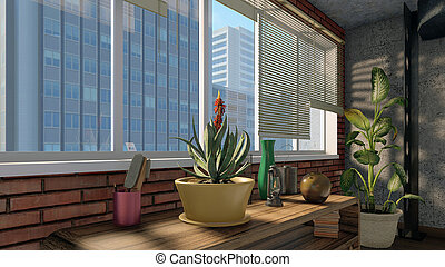 Window with modern city view in loft interior