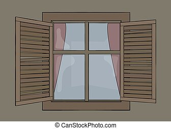 Window with old wooden shutters