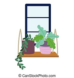 window with potted plants decoration isolated design icon white background