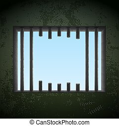 Window with sawn off bars in a prison cell. Jail break. Stock ve