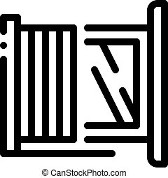 window with shutters icon vector outline illustration