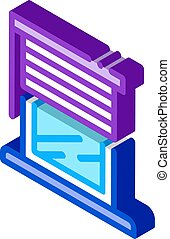 window with shutters isometric icon vector illustration
