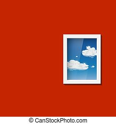 Window with sky and clouds.