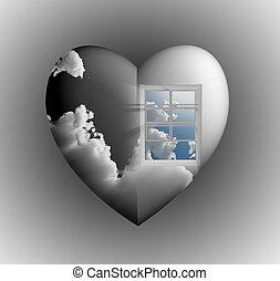 Window with sky in heart