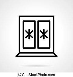 Window with snowflakes black line vector icon