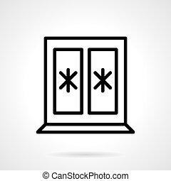 Window with snowflakes black line vector icon