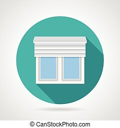 Round blue flat vector icon for plastic window with up rolled shutters on gray background. Long shadow design.