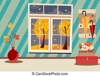 Window with view of yellow trees and foliage. Autumn brown interior with branches in vase, sleeping cat and dog on suitcases and umbrellas on hanger. Evening good weather outside. Flat cartoon vector