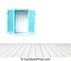 window with wall and wood floor