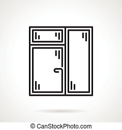 Window with window leaf line vector icon