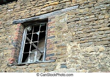 Window with wooden girder
