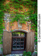 Window with wooden shutters.