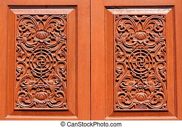 Window wooden carved of temple