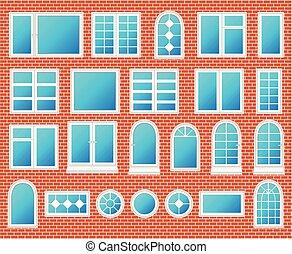 windows, állhatatos, vektor, műanyag