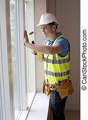 windows, épület, munkás, beiktató, szerkesztés, új