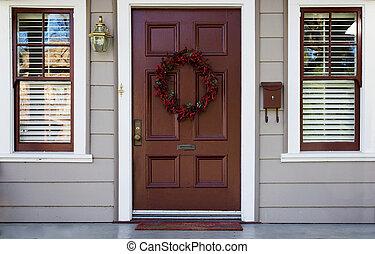 windows, 2, puerta, borgoña