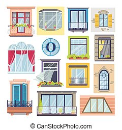 Windows and balcony set of isolated on white vector illustrations. House facade architecture, windowpane and windowsill with flowers.