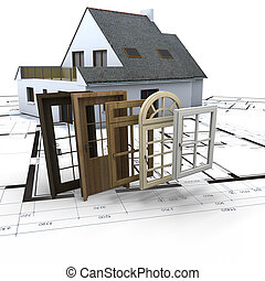 Windows and doors choice - House on blueprints with a choice...